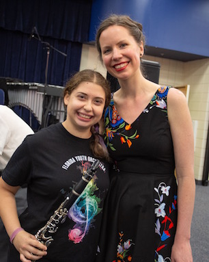 Kate Soper with New College student Rose Schimmel, who leant her clarinet for the performance